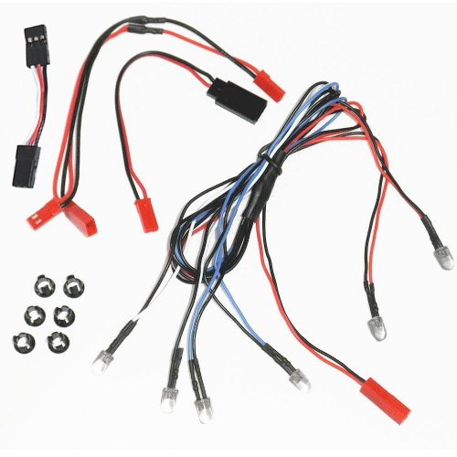 BASTENS RC Car Truck 6 LED body lights kit set with Snap-In Holder Rings 2 White Headlight 2 Red Tail Lights 2 Blue Fog or Parking Accessory fits most 110 116 118 scale Traxxas Axial Losi RedCat