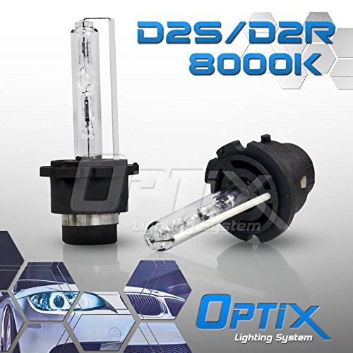 Optix D2S D2R D2C HID Xenon Headlight Replacement Bulbs - Low Beam - 8000K Iceberg Blue - Pack of 2 Bulbs
