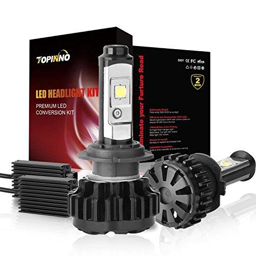 TOPINNO LED Headlight Bulbs Conversion Kit Extremely Bright CREE XHP50 10000LM H7 - 6000K Xenon White Headlight Assembly