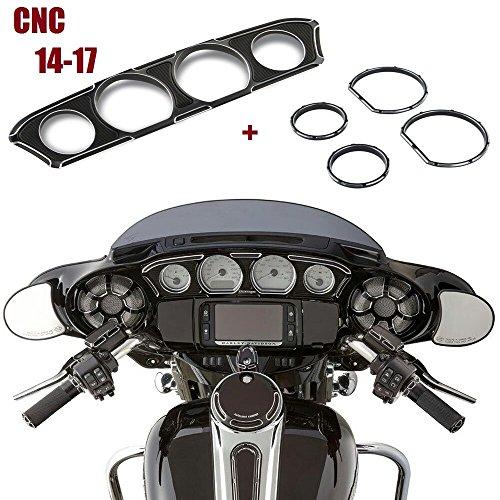 Black Deep Cut Inner Fairing Dash&Gauge Trim For Harley Touring 14 15 16 17
