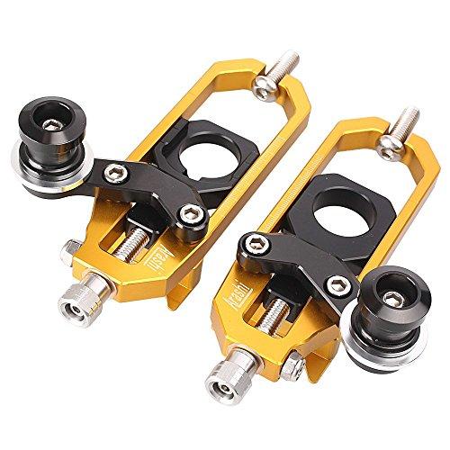 GZYF Motorcycle Chain Adjuster Fit Aprilia RSV4 2010-2014 Gold Aluminum
