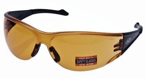 Full Throttle Motorcycle Wrap Around Safety Glasses Various Lens Colors Basic Lens Color Orange Lenses
