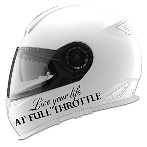 Live Your Life At Full Throttle Auto Car Racing Motorcycle Helmet Decal - 5 - Black