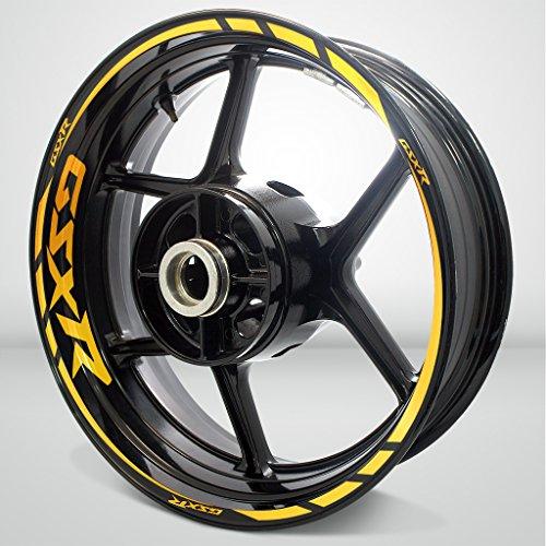 Suzuki GSX R Reflective Yellow Motorcycle Rim Wheel Decal Accessory Sticker