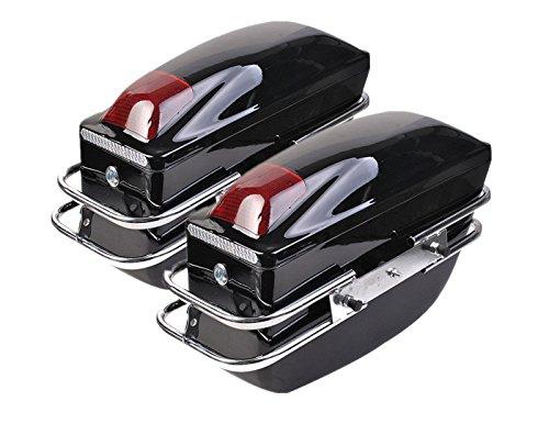 Comie 2 Pcs Motorcycle Cruiser Hard Trunk SaddleBags Luggage w Lights Mounted Chrome Rail Bracket Black
