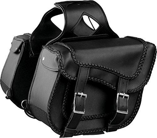 Milwaukee Performance SH66301ZB Black Medium Braided Zip-Off PVC Throw Over Saddle Bag with Studs