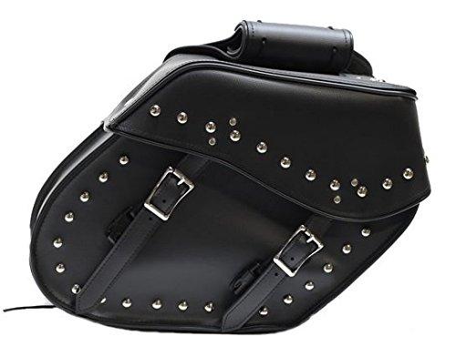 Slanted PVC Motorcycle Saddlebags With Studs
