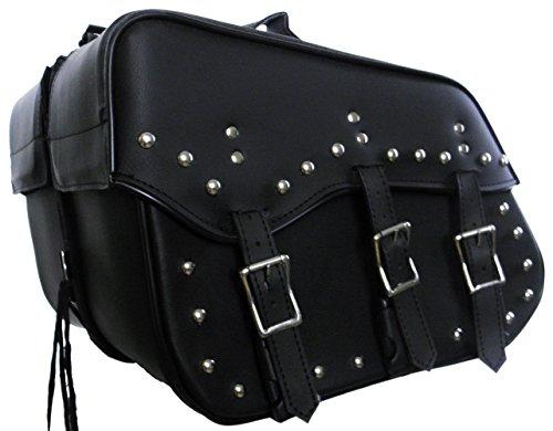 Vance Leather Medium 3 Strap Slant Saddle Bag with Studs Bag 16 x 12 x 8