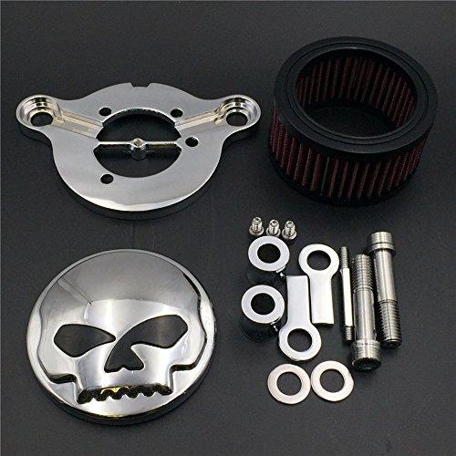 HTT GROUP Chromed Skull Eyes Air Cleaner Intake Filter System Kit For Harley Sportster XL883 XL1200 1988 1989 1990 1991 1992 1993 1994 1995 1996 1997 1998 1999 2010 2011 2012 2013 2014 2015