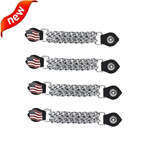 Motorcycle Vest Extender 4 Pack Biker Chain For Men or Women USA Flag