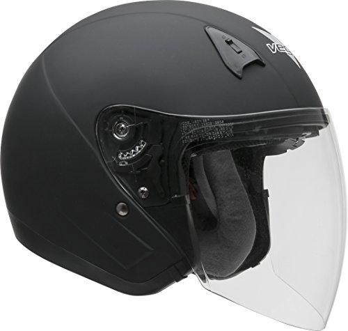 Vega Helmets VTS1 Open Face Motorcycle Helmet with Inner Sunshield – DOT Certified Full Face Shield Visor Motorbike Helmet for Cruisers Street Bike Scooter Touring Moped Moto Matte Black Medium