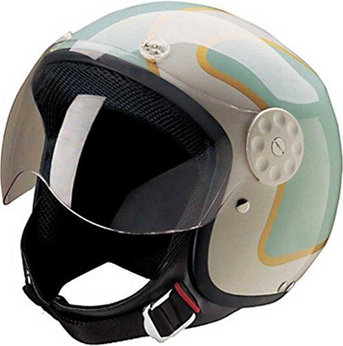 HCI Open Face Fiberglass Motorcycle Helmet GreenGold w Face Shield 15-660 XL