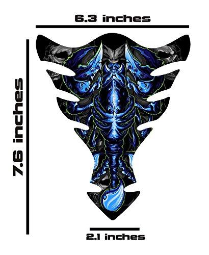 Kawasaki Ninja Suzuki GSXR Honda CBR Yamaha YZF BLue Scorpion Motorcycle TanK pad Gel Decal