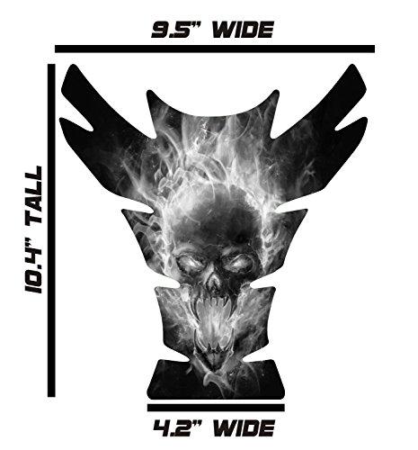 Large Universal Exploding Skull Black White 3D Gel Sportbike Motorcycle Gas Tank Pad Tankpad Protector Guard