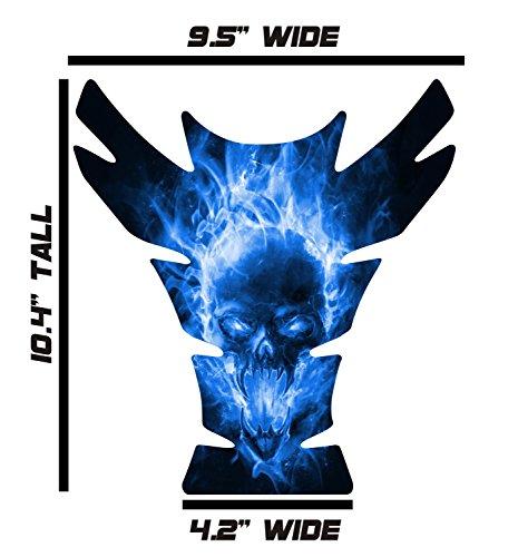 Large Universal Exploding Skull Blue 3D Gel Sportbike Motorcycle Gas Tank Pad Tankpad Protector Guard