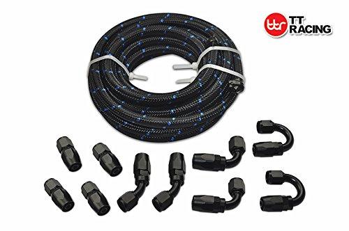 20 Feet -6AN AN6 Steel Nylon Braided Oil Gas Fuel Hose Line Black Swivel Fitting Kit
