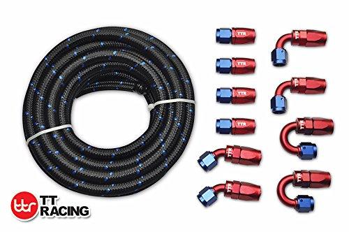 20 Feet -6AN AN6 Steel Nylon Braided Oil Gas Fuel Hose Line Swivel Fittings Kit