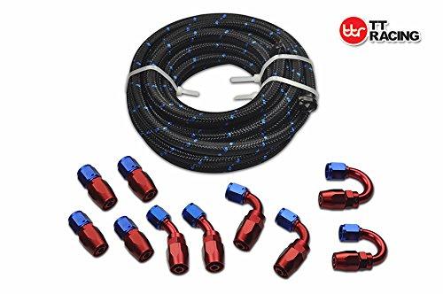 20 Feet -8AN AN8 Steel Nylon Braided Oil Gas Fuel Hose Line Swivel Fittings Kit