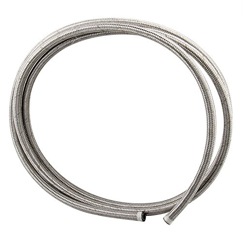 CarBole 10 Feet Stainless Steel Braided Fuel  Oil Line Hose AN6 Silver