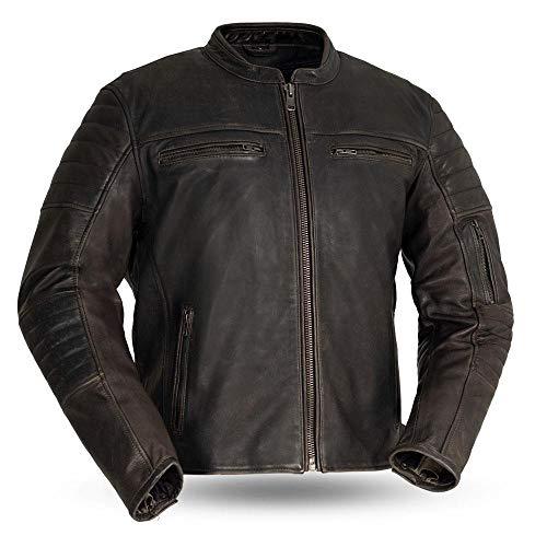 Mens Motorcycle Vintage Distressed Brn Color Biker Commuter leather jacket with armor pockets 2XL
