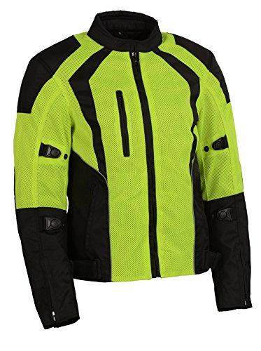 Milwaukee Leather Womens NylonMesh Combo Racing Jacket with Armor BlackNeon Green 3X