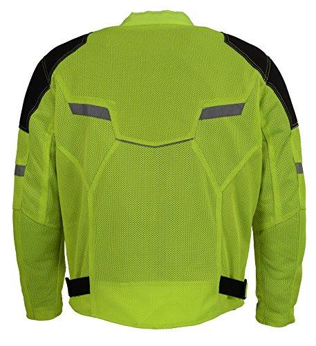 Milwaukee Performance Mens Mesh Racing Jacket with Armor BLACKNEON GREEN XL