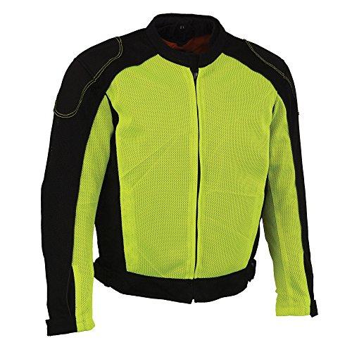 Milwaukee Performance Mens NylonMesh Combo Moto Jacket with Armor BlackNeon Green Small