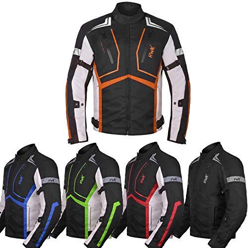 Motorcycle Jacket For Men Textile Motorbike Dualsport Enduro Motocross Racing Biker Riding CE Armored Waterproof All-Weather Orange Large