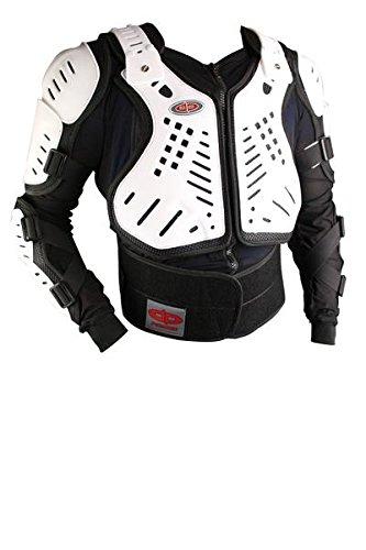 Perrini WhiteBlack CE Approved Full Body Armor Motorcycle Jacket XL