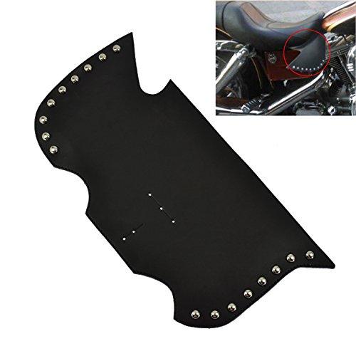 Motorcycle Leather Heat Shield Saddle Air Deflector w Nails Black for Indian Suzuki Kawasaki Yamaha Honda Victory