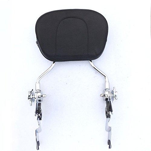 HTT Motorcycle Chromed Adjustable Detachable Backrest Sissy Bar with pad For 2007 2008 2009 2010 2011 2012 2013 2014 2015 Harley Davidson FLHR Road King FLHX- Street Glide