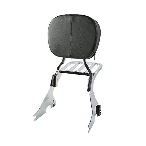 XMT-MOTO Sissy Bar Backrest Chrome Luggage Rack For Harley Davidson Sportster 883 2004-2017