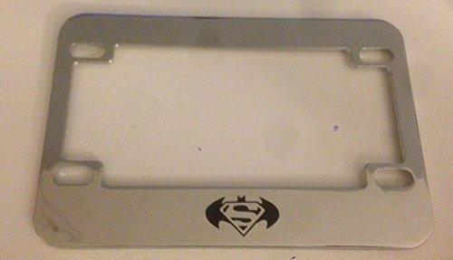 Batman Meet Superman - Chrome Motorcycle  Scooter License Plate Frame -