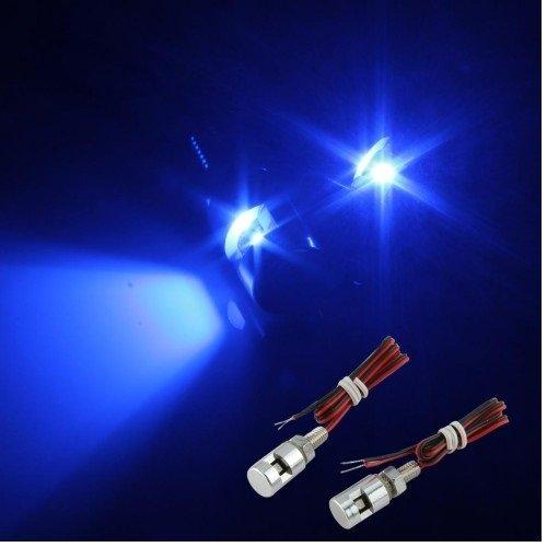 Motorcycle LED License Plate Chrome Bolt Lights Blue