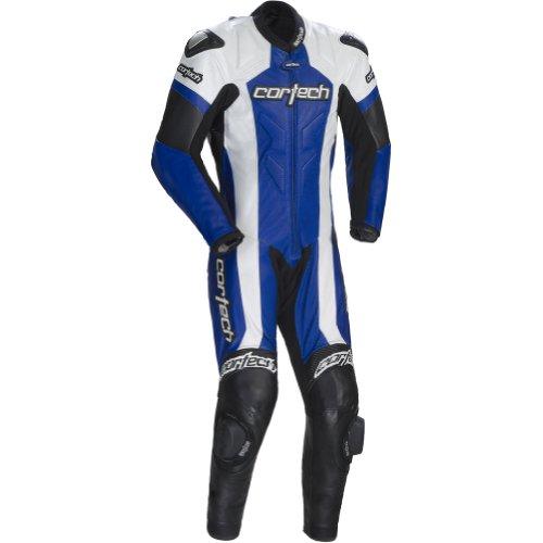 Cortech Adrenaline Men's 1-piece Leather Sports Bike Racing Motorcycle Race Suit - White/blue / X-large