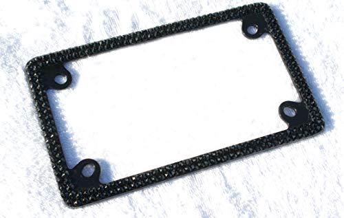 Hotblings Bling Black on Black Crystal Motorcycle License Plate Frame Made wSwarovski Elements Caps Set