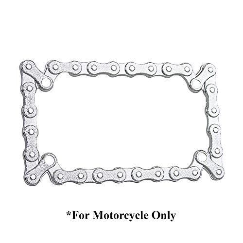 TC Sportline LPF245 3D Bike Chain Style Zinc Metal Chrome Finished Motorcycle License Plate Frame