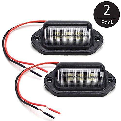 EEEKit 2 pack 12V 6 SMD LED License Plate Lamp Light for Truck SUV Trailer Van Step Courtesy Lights DomeCargo Lights or Under Hood Light