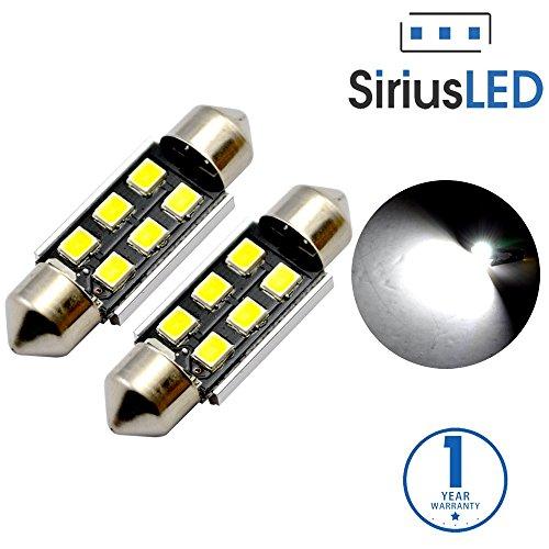 "SiriusLED Super Bright 2835 Chipset Canbus Error Free LED Festoon Bulbs for Car Interior License Plate Dome Courtesy Lights 150"" 36MM Festoon 6411 6418 C5W 6000K Xenon White Pack of 2"