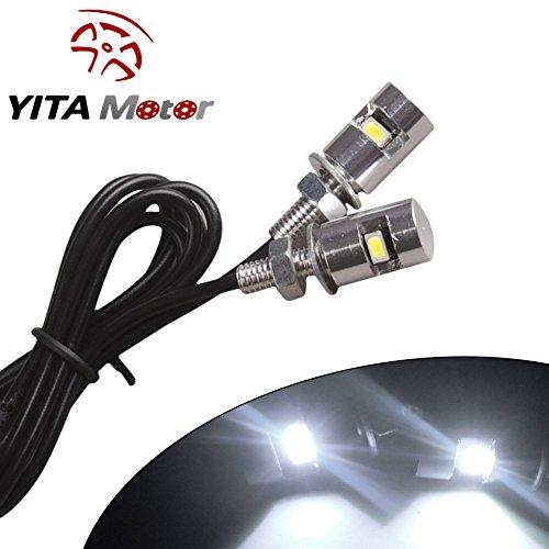 YITAMOTOR 2 X LED Car Motorcycle License Plate Screw Blot Light Ultra White Lights 12V 2pcs White