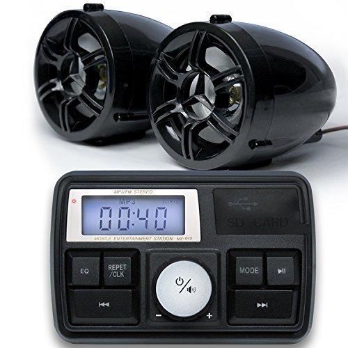 GoldenHawk USA Bluetooth Motorcycle Handlebar Mount Audio Amplifier Stereo Speaker System MP3 USBSD