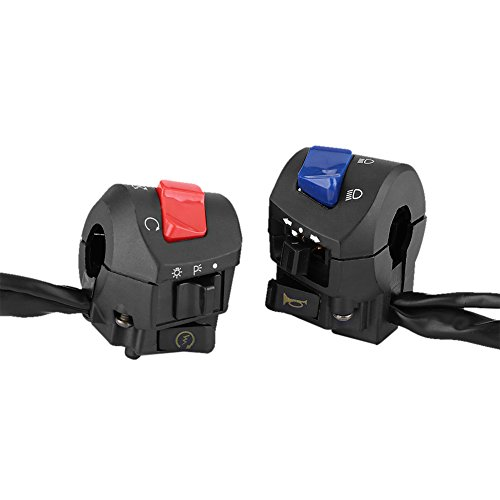 Handlebar Switch Control-1 Pair Motorcycle 78inch Left and Right Handlebar Mount Switch with Horn and Ignition Control