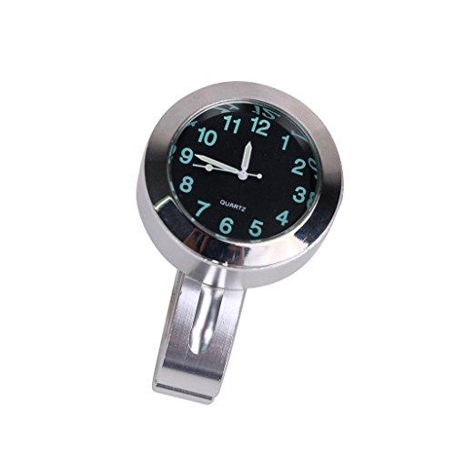 Universal Waterproof Motorcycle Handlebar Mount Clock For 78 or 1 Handlebar Black Dial Watch Luminous Chrome