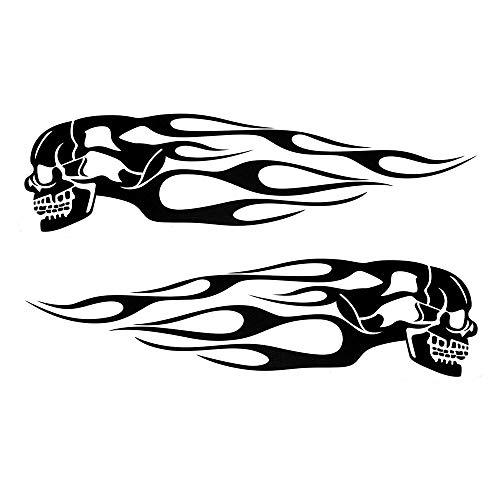 KKmoon Pair Universal Motorcycle Decal Gas Oil Tank Flames Skull Badge Sticker Black