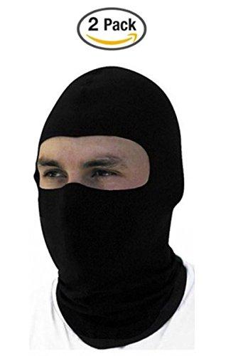 2 Pack -Thin Cotton Spandex Motorcycle Balaclava Face Mask Premium Quality Helmet Liner Ski Mask Dust Mask Black Tactical Balaclava