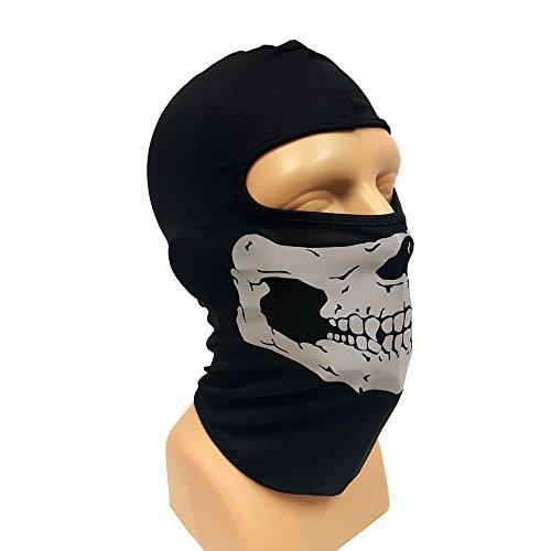 Motorcycle balaclava face mask half skull Black