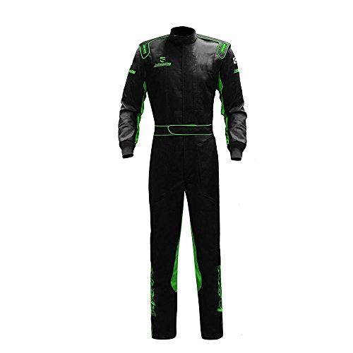jxhracing C023LD Two Layers Cotton Auto Go Kart Racing Suit-Black-Medium