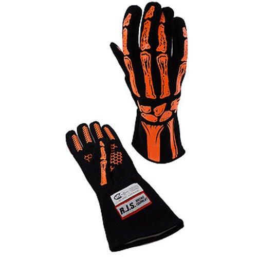 RJS Racing Equipment Mens Double Layer Skeleton GlovesOrange Large 1 Pack