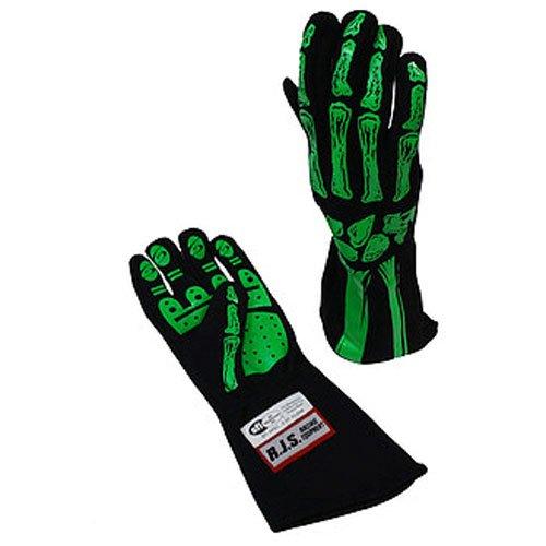RJS Racing Equipment Mens Single Layer Skeleton GlovesLime Green Large 1 Pack