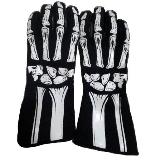 RJS Racing Equipment Mens Single Layer Skeleton GlovesWhite Large 1 Pack